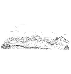 Sketchy drawing of mountain hilly rocky landscape vector