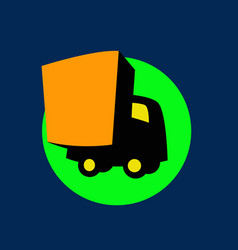 small and cute delivery truck logo template vector image