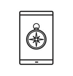Smartphone gps location linear icon vector