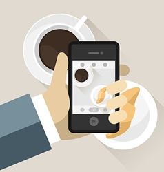 Smartphone taking photo of coffee cup vector