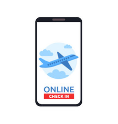 smartphone with online check in button and vector image
