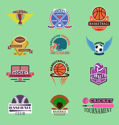 Sport badge template teams or clubs school balls vector