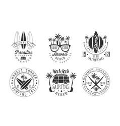 summer surf club retro logo templates set hawaii vector image