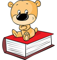 teddy bear sitting on book isolated on white vector image