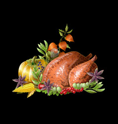 Thanksgiving fried turkey with vegetables vector