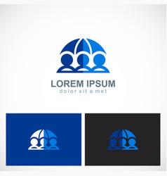 three people save umbrella logo vector image