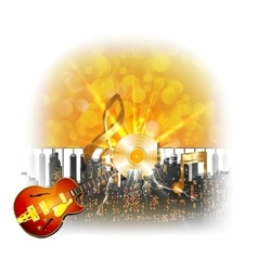urban landscape with a flash and guitar golden vector image