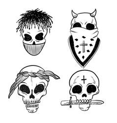 Urban street hip hop gangsta rapper skulls in vector