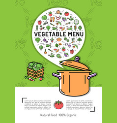 Vegetable menu card vegetables icons cooking pot vector