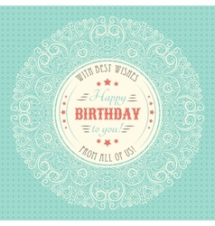Vintage happy birthday card typography letters vector