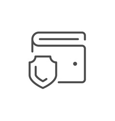 wallet protection line outline icon vector image