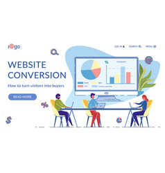 website conversion landing page flat template vector image