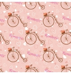 wedding retro bicycle seamless pattern vector image