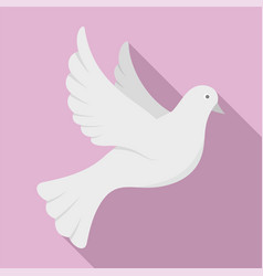 White pigeon of peace icon flat style vector