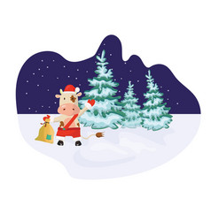winter outdoor scene with a bull wearing santa vector image