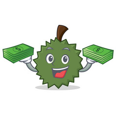With money durian mascot cartoon style vector