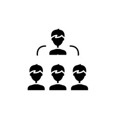 work team black icon sign on isolated vector image
