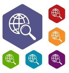 World scan rhombus icons vector image