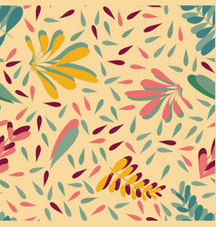 yellow pink leaves seamless background vector image