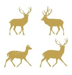 Christmas reindeer silhouettes vector image