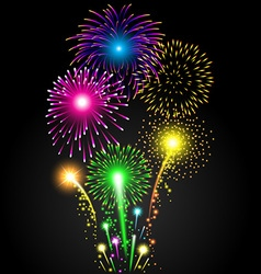 Colorful firework set for Christmas and Happy New vector image