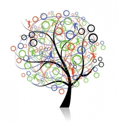 connecting peoples web tree vector image vector image