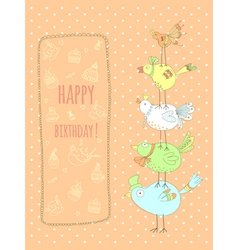 Doodle birthday card with birds vector image