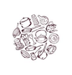hand drawn kitchen utensils in circle vector image