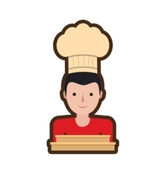 character delivery man hat restaurant delivery box vector image vector image