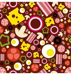 pizza ingredients seamless pattern vector image