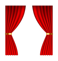 Red window curtains isolated on white vector image vector image