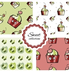 Seamless pattern with hand drawn cupcake vector image
