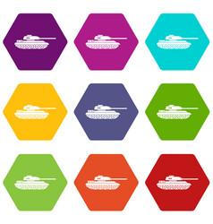 tank icon set color hexahedron vector image