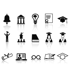 black college icons set vector image vector image