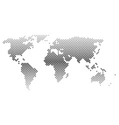 black halftone world map of small dots in diagonal vector image vector image
