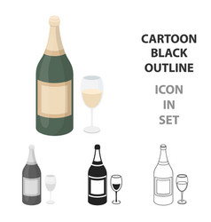 champagne icon in cartoon style isolated on white vector image vector image