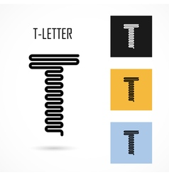 Creative T - letter icon abstract logo design vector image