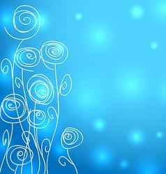 Abstract flowers over blue background with lights vector image