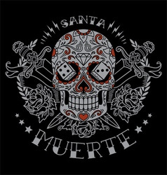 Day of the Dead skull and sword graphic vector image
