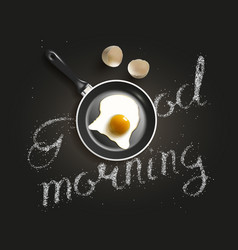 fried egg in a frying pan vector image vector image