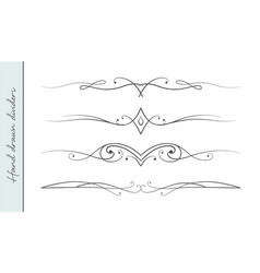 hand drawn linear ornate flourishes set vector image