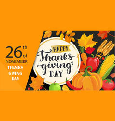 happy thanksgiving day card with lettering in vector image vector image