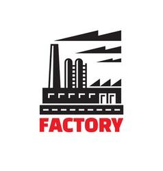Industrial factory building - logo vector image