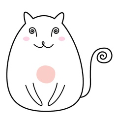 Simple Cat drawing character isolated on white vector image vector image