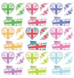 uk hearts and ribbons vector image