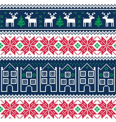 Winter christmas seamless pattern with reindeer vector image vector image