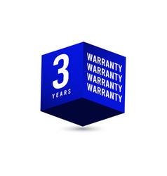 3 years warranty d box label logo template vector