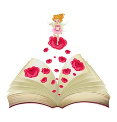 A book with an image of a fairy above a big rose vector image