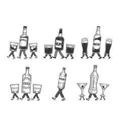 Alcohol walks on its feet sketch engraving vector