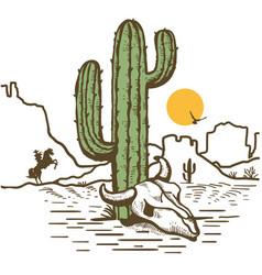 American desert landscape with cowboy drive vector